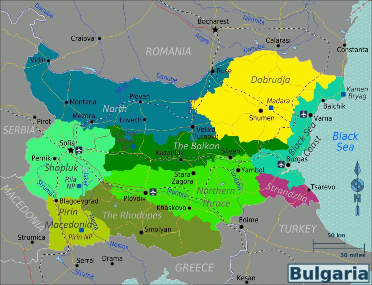 flughäfen bulgarien karte Bulgarien Flughäfen Karte   Karte des Flughäfen Bulgarien